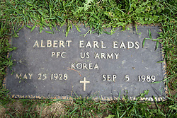 31 August 2017:   Veterans graves in Park Hill Cemetery in eastern McLean County.<br /> <br /> Albert Earl Eads  Private First Class  US Army  Korea  May 25 1928  Sep 5 1989