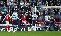 Alexandre Lacazette of Arsenal misses a chance to score - Mandatory by-line: Arron Gent/JMP - 02/03/2019 - FOOTBALL - Wembley Stadium - London, England - Tottenham Hotspur v Arsenal - Premier League