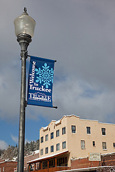 """Welcome to Truckee"" - This welcome sign was photographed in Downtown Truckee, CA."