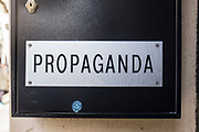 Propaganda - sign in letterbox in Barcelona