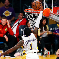 07 January 2018: Los Angeles Lakers guard Kentavious Caldwell-Pope (1) goes for the dunk during the LA Lakers 132-113 victory over the Atlanta Hawks, at the Staples Center, Los Angeles, California, USA.