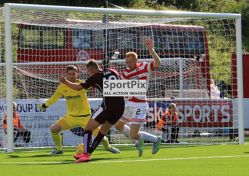 Billy King fires in the equalising goal during the Hamilton Academical FC  V Heart of Midlothian FC Scottish Premiership 29th August 2015  ©Edward Linton | SportPix.org.uk