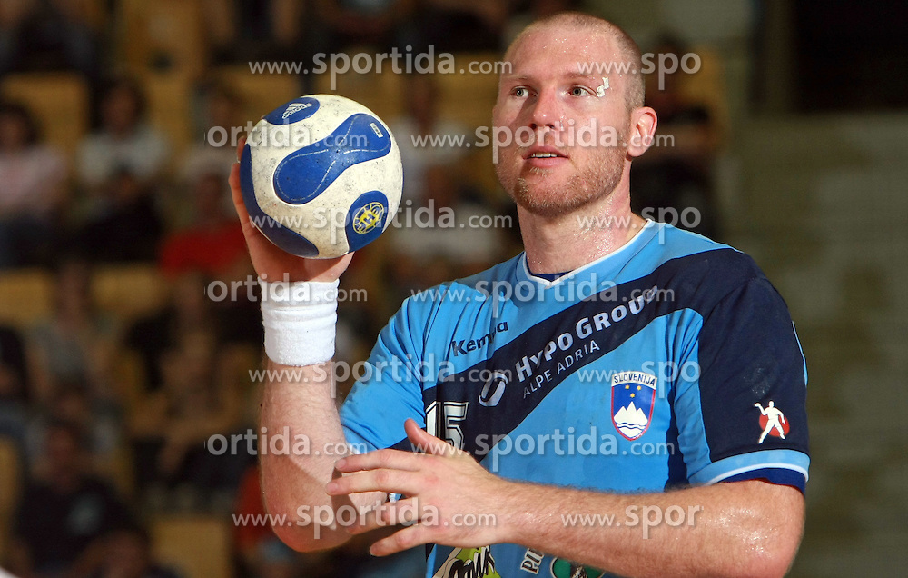 Ales Pajovic of Slovenia at  handball game between men national teams of Slovenia and Slovakia, first qualification game for the World Chamionship 2009, on June 7, 2008, in Arena Zlatorog, Celje, Slovenija. Result: 33 : 33. (Photo by Vid Ponikvar / Sportal Images)