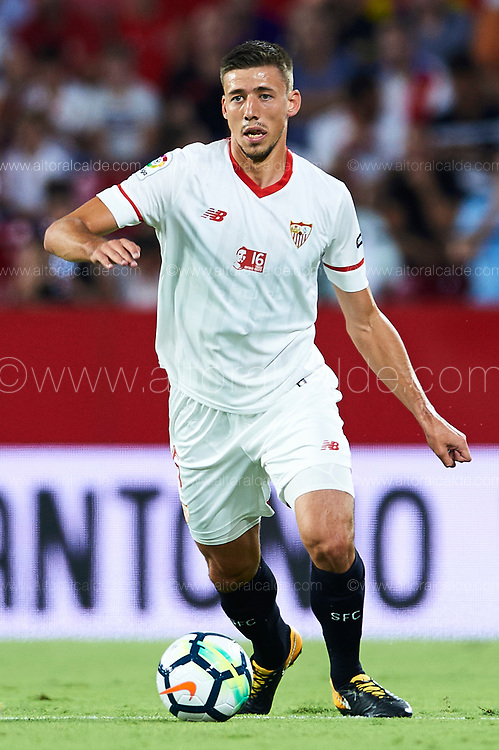 SEVILLE, SPAIN - AUGUST 10:  Clement Lenglet of Sevilla FC in action during a Pre Season Friendly match between Sevilla FC and AS Roma at Estadio Ramon Sanchez Pizjuan on August 10, 2017 in Seville, Spain.  (Photo by Aitor Alcalde/Getty Images)