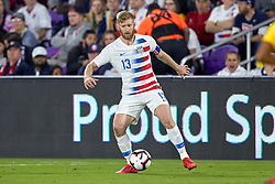 March 21, 2019 - Orlando, FL, U.S. - ORLANDO, FL - MARCH 21: United States defender Tim Ream (13) dribbles the ball in game action during an International friendly match between the United States and Ecuador on March 21, 2019 at Orlando City Stadium in Orlando, FL. (Photo by Robin Alam/Icon Sportswire) (Credit Image: © Robin Alam/Icon SMI via ZUMA Press)