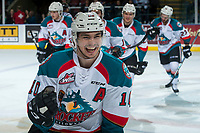 KELOWNA, CANADA - APRIL 25: Nick Merkley #10 of the Kelowna Rockets celebrates a goal against the Seattle Thunderbirds on April 25, 2017 at Prospera Place in Kelowna, British Columbia, Canada.  (Photo by Marissa Baecker/Shoot the Breeze)  *** Local Caption ***