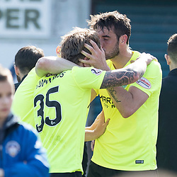 Brian Graham (Hibernian) plants a kiss on Jason Cummings (Hibernian) after opening the scoring  during the Ladbrokes Championship match between Greenock Morton &amp; Hibernian at Cappielow Stadium on 8 April 2017<br /> <br /> Picture: Alan Rennie