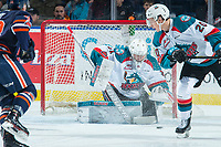 KELOWNA, CANADA - FEBRUARY 24:  Brodan Salmond #31 of the Kelowna Rockets makes a first period save against the Kamloops Blazers on February 24, 2018 at Prospera Place in Kelowna, British Columbia, Canada.  (Photo by Marissa Baecker/Shoot the Breeze)  *** Local Caption ***