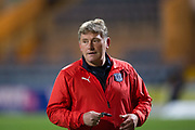 31st October 2018, Kilmac Stadium, Dundee, Scotland; Ladbrokes Premiership football, Dundee v Celtic; Dundee assistant manager Jimmy Boyle during the warm up