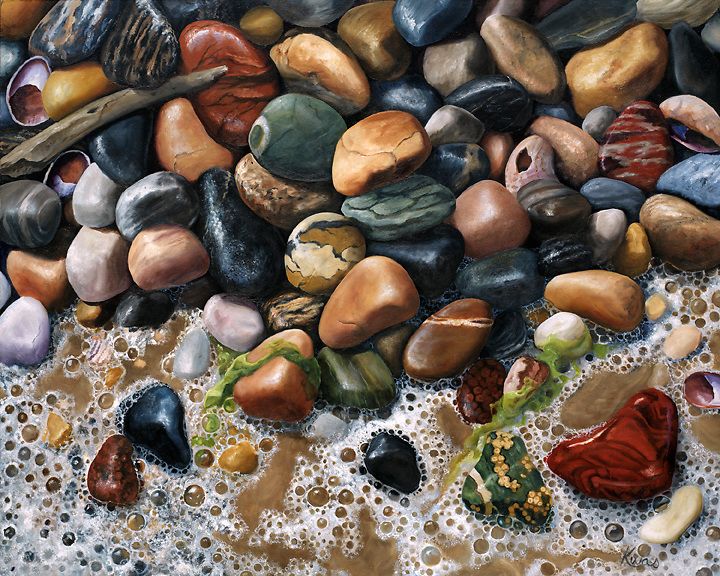 A collection of green and red orbicular jasper tossed among seaweed and beach foam will bring you back to the water's edge. <br />