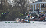 London, Great Britain, Cambridge find a patch of rough water by Chiswick Pier, during the The Newton Women's Boat Race, Men's Race , Championship Course.  River Thames. Putney to Mortlake. ENGLAND. <br /> <br /> 17:02:59  Saturday  11/04/2015<br /> <br /> [Mandatory Credit; Peter Spurrier/Intersport-images]<br /> <br /> OUWBC Crew: <br /> Maxie SCHESKE, Anastasia CHITTY, Shelley PEARSON, Lauren KEDAR, Maddy BADCOTT, Emily REYNOLDS, Nadine GRAEDEL IBERG, Caryn DAVIES and Cox Jennifer EHR