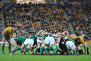 Tomas O'Leary feeds the scrum for Ireland under the watchful eyes of Luke Burgess during action from the Rugby Union Test Match played between Australia and Ireland at Suncorp Stadium (Brisbane) on Saturday 26th June 2010 ~ Australia (22) defeated Ireland (15) ~ © Image Aura Images.com.au ~ Conditions of Use: This image is intended for Editorial use as news and commentry in print, electronic and online media ~ Required Image Credit : Steven Hight (AURA Images)For any alternative use please contact AURA Images