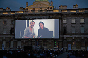 MESSAGE FROM NICOLE KIDMAN AND TOM CRUISE, Open air screening of Knight and Day at the opening night of Film 4 Summer Screen 2010. Somerset House. London. 29 July 2010. -DO NOT ARCHIVE-© Copyright Photograph by Dafydd Jones. 248 Clapham Rd. London SW9 0PZ. Tel 0207 820 0771. www.dafjones.com.
