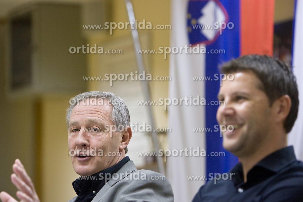Head coach Zvonimir Noka Serdarusic, Tomaz Jersic at press conference of Slovenian men National Handball Team, on October 2, 2009, RZS, Ljubljana, Slovenija. (Photo by Vid Ponikvar / Sportida)
