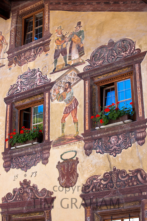 Gasthof Stern 16th Century hotel in Kirchweg, built 1573, in the old part of the town of Oetz in the Tyrol, Austria