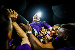 Darko Milanic head coach of NK Maribor thrown in the air by his players celebrating after football match between ND Gorica and NK Maribor in Round #32 of Prva liga Telekom Slovenije 2016/17, on May 5th, 2017 in Ljudski Vrt, Maribor, Slovenia. Photo by Grega Valancic / Sportida