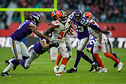 Cleveland Browns Runningback Isaiah Crowell (34) in action during the International Series match between Cleveland Browns and Minnesota Vikings at Twickenham, Richmond, United Kingdom on 29 October 2017. Photo by Jason Brown.