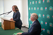 OHIO's new Director of Athletics, Julie Cromer, answers questions from the media at a press conference at Peden Stadium on August 16, 2019.