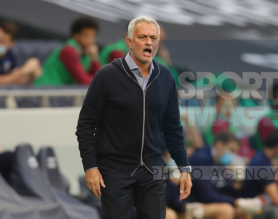 Jose Mourinho manager of Tottenham shouts from the touchline during the Premier League match at the Tottenham Hotspur Stadium, London. Picture date: 23rd June 2020. Picture credit should read: David Klein/Sportimage