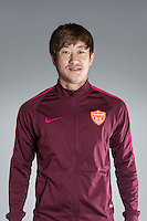 Portrait of Chinese soccer player Chi Wenyi of Yanbian Funde F.C. for the 2017 Chinese Football Association Super League, in Namhae County, South Gyeongsang Province, South Korea, 11 February 2017.