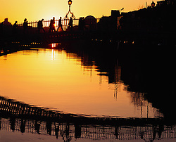 July 21, 2019 - Ha'penny Bridge, At Sunset; Dublin, Co Dublin, Ireland (Credit Image: © The Irish Image Collection/Design Pics via ZUMA Wire)