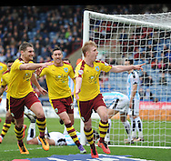 Ben Mee (r) of Burnley celebrates scoring the 3rd goal during the Sky Bet Championship match at the John Smiths Stadium, Huddersfield<br /> Picture by Graham Crowther/Focus Images Ltd +44 7763 140036<br /> 12/03/2016