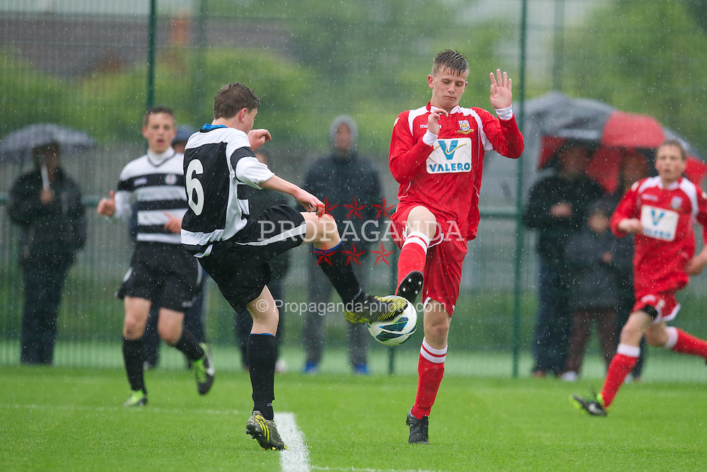 NEWPORT, WALES - Tuesday, May 28, 2013: South Welsh Premier League Academy Boys' Jordan Harford and North Welsh Premier League Academy Boys' Ryan Jones [l] during the Welsh Football Trust Cymru Cup at Dragon Park. (Pic by David Rawcliffe/Propaganda)