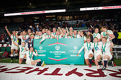 The England Women team celebrate the win after the match - Mandatory byline: Patrick Khachfe/JMP - 07966 386802 - 26/11/2016 - RUGBY UNION - Twickenham Stadium - London, England - England Women v Canada Women - Old Mutual Wealth Series.