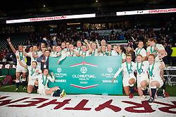 The England Women team celebrate the win after the match - Mandatory byline: Patrick Khachfe/JMP - 07966 386802 - 26/11/2016 - RUGBY UNION - Twickenham Stadium - London, England - England Women v Canada Women - Old Mutual Wealth Series.