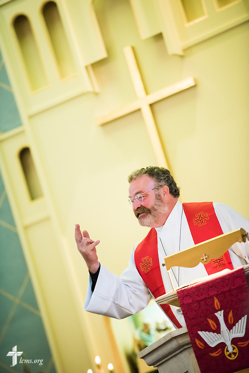 """The Rev. Dr. Matthew C. Harrison, president of The Lutheran Church–Missouri Synod, gives a sermon on Sunday, August 9, 2015, during a """"Day of Thanksgiving and Rededication""""  at St. John's Lutheran Church in New Minden, Ill. Nearly two years ago, a tornado damaged the church and surrounding homes. LCMS Communications/Erik M. Lunsford"""
