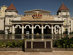 Frontage of a hotel in Da Nang province, Viet Nam, Asia . The soviet architecture style of the building shows a big crown on top of it.