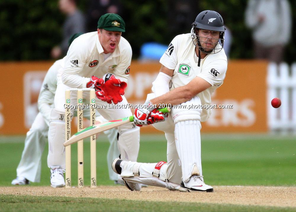 NZ captain Daniel Vettori swings a misses as Brad Haddin braces.<br /> 1st cricket test match - New Zealand Black Caps v Australia, day two at the Basin Reserve, Wellington.Saturday, 20 March 2010. Photo: Dave Lintott/PHOTOSPORT