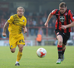 Stuart Sinclair of Bristol Rovers is challenged by Adam Dugdale of Morecambe - Mandatory byline: Neil Brookman/JMP - 07966 386802 - 03/10/2015 - FOOTBALL - Globe Arena - Morecambe, England - Morecambe FC v Bristol Rovers - Sky Bet League Two