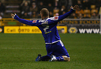 Photo: Steve Bond/Sportsbeat Images.<br /> Wolverhampton Wanderers v Leicester City. Coca Cola Championship. 22/12/2007. Iain Hume celebrates