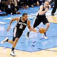 08 May 2016: San Antonio Spurs forward Kawhi Leonard (2) is seen on a fast break next to San Antonio Spurs guard Manu Ginobili (20) during the Oklahoma City Thunder 111-97 victory over the San Antonio Spurs, during Game Four of the Western Conference Semifinals of the NBA Playoffs at the Chesapeake Energy Arena, Oklahoma City, Oklahoma, USA.