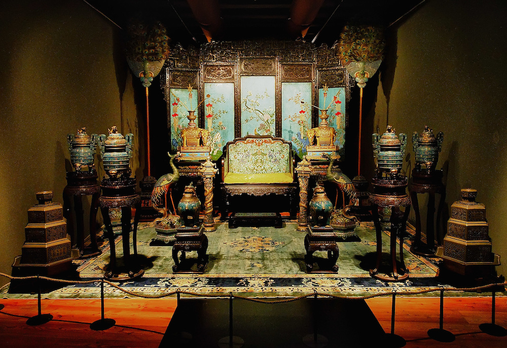 "TREVISO, ITALY - NOVEMBER 12:  A general view of the throne of the Celestial emperor for the very first time outside China at the Casa dei Carraresi on November 12, 2011 in Treviso, Italy.  The exhibition called, ""Manchu, The Last Emperor"" will stay open until the 13th May 2012.  (Photo by Marco Secchi/Getty Images)"