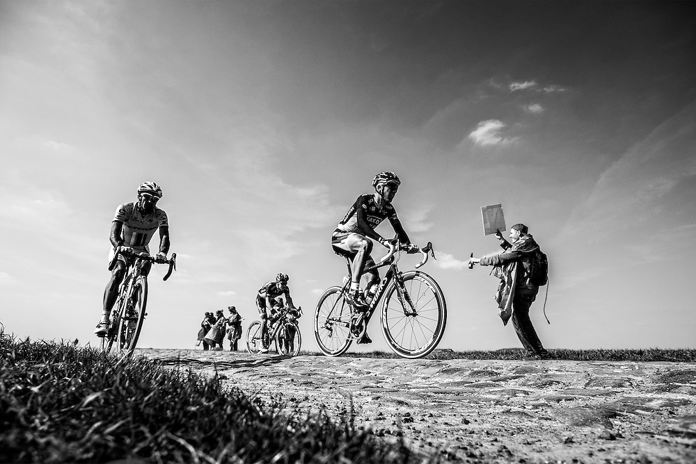 France. Bourghelles a Wannehain, 07-04-2013. Photo: Patrick Post.  Paris-Roubaix. Sfeerfoto on cobbles number 6 Pave the Bourghelles a Wannehain.