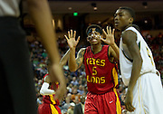 JC Washington (5) of Houston Yates reacts after knocking the ball out of bounds against Dallas Madison during the UIL 3A state championship game at the Frank Erwin Center in Austin on Saturday, March 9, 2013. (Cooper Neill/The Dallas Morning News)