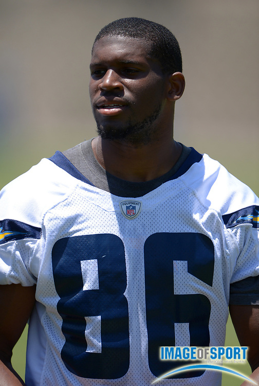 Jun 12, 2013; San Diego, CA, USA; San Diego Chargers receiver Vincent Brown (86) at minicamp at Chargers Park.