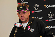 "New Orleans Saints head coash Sean payton speaks to the media after the win against the carolina Panthers Sunday Oct. 3,2010. The NFL has gone ""Pink"" for October in honor of Breast Cancer Awareness. The Saints went on to win 16-14. John Carney kicked three field goals to help the Saints win. PHOTO©SuziAltman.com"