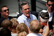 """Republican presidential candidate Mitt Romney greets supporters in Newark, Ohio. The rally is part of the Romney campaign's   """"Every Town Counts"""" bus tour."""