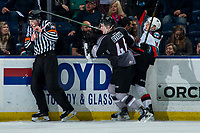 KELOWNA, BC - JANUARY 26: Bowen Byram #44 of the Vancouver Giants checks Pavel Novak #11 of the Kelowna Rockets into the boards during first period at Prospera Place on January 26, 2020 in Kelowna, Canada. (Photo by Marissa Baecker/Shoot the Breeze)