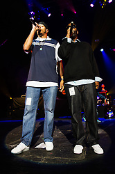 © Licensed to London News Pictures. 13/06/2013. London, UK.   Jurassic 5 performing live at Brixton Academy having recently reformed since splitting in 2007. In this pic - Zakir (left), Chali 2na (right). Jurassic 5 are an American alternative hip hop comprising of rappers Charles Stewart (Chali 2na), Dante Givens (Akil), Courtenay Henderson (Zaakir), Marc Stuart (Mark 7even), and DJs Mark Potsic (DJ Nu-Mark) and Lucas Macfadden (Cut Chemist).     Photo credit : Richard Isaac/LNP