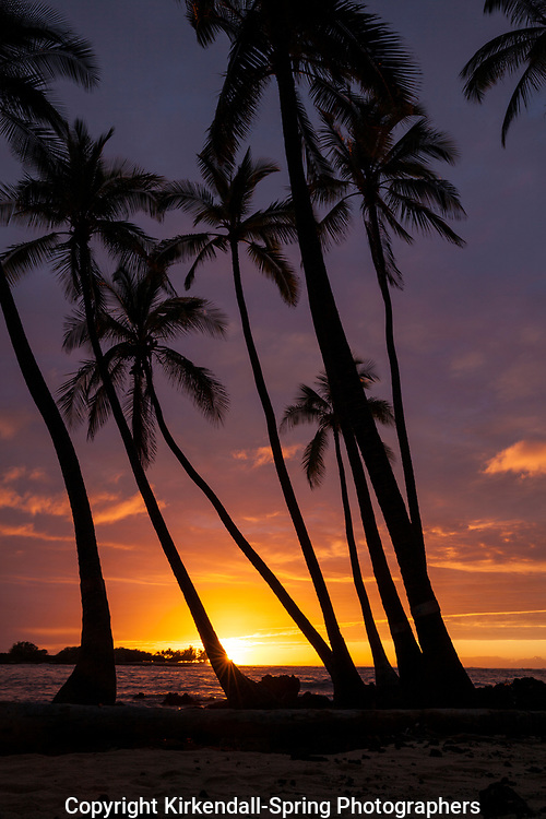 HI00459-00...HAWAI'I - Sunset over the Pacific Ocean from Kekaha Kai State Park along the Kona Coast on the island of Hawai'i.