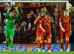 31.10.2012, Anfield, Liverpool, ENG, FA Cup, FC Liverpool vs Swansea City, 4. Runde, im Bild Liverpool's goalkeeper Brad Jones looks dejected after conceding Swansea City's first goal // during English FA Cup 4th round match between Liverpool FC and Swansea City AFC at the STADION, STADT, Great Britain on 2012/10/31. EXPA Pictures © 2012, PhotoCredit: EXPA/ Propagandaphoto/ David Rawcliffe..***** ATTENTION - OUT OF ENG, GBR, UK *****