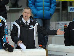"15.03.2012, Keine Sorgen Eisarena, Linz, AUT, EBEL, EHC Liwest Black Wings Linz vs HDD Tilia Olimpija Ljubljana, Playoff, Halbfinale, 5. Spiel, im Bild Coach Robert Daum (EHC Liwest Black Wings Linz, #), during the semifinal match of ""Erste Bank Icehockey League"", fifth encounter between EHC Liwest Black Wings Linz and HDD Tilia Olimpija Ljubljana at Keine Sorgen Eisarena, Linz, Austria on 2012/03/15"