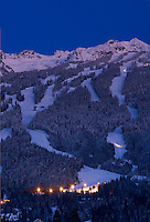 Blackcomb Mountain on a winter twilight evening in Whistler, BC, Canada.