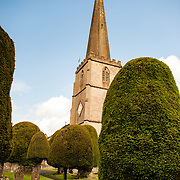 Steeple at the Parish Church of St Mary in Painswick, Gloucestershire, in England's Cotswolds region.