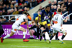 Alivereti Raka of ASM Clermont Auvergne takes on Arthur Retiere of La Rochelle - Mandatory by-line: Robbie Stephenson/JMP - 10/05/2019 - RUGBY - St James' Park - Newcastle, England - ASM Clermont Auvergne v La Rochelle - European Rugby Challenge Cup Final