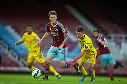 UPTON PARK, ENGLAND - Friday, September 12, 2014: West Ham United's Danny Whitehead in action against Liverpooll during the Under 21 FA Premier League match at Upton Park. (Pic by David Rawcliffe/Propaganda)